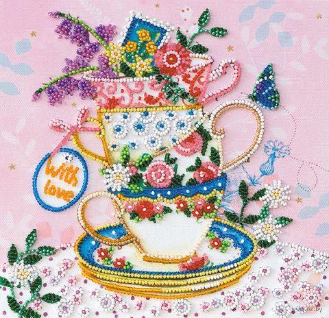 """Вышивка бисером """"За чашкой чая"""" (200х200 мм) — фото, картинка"""