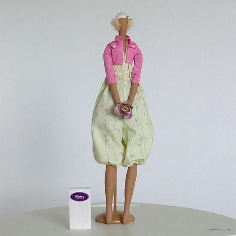 """Кукла ручной работы """"Девушка"""" (в розовой кофточке с цветком в руках)"""