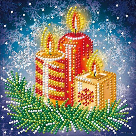 """Алмазная вышивка-мозаика """"Новогодние свечи"""" (150х150 мм) — фото, картинка"""
