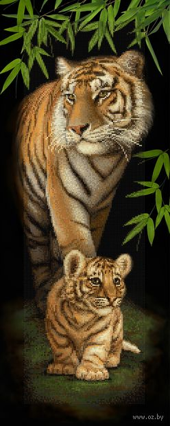 "Алмазная вышивка-мозаика ""Тигровое семейство"" (900х350 мм) — фото, картинка"