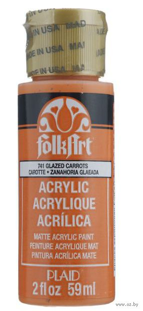 "Краска акриловая ""FolkArt. Acrylic Paint"" (морковный, 59 мл; арт. PLD-00741)"