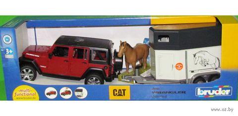 """Модель машины """"Внедорожник Jeep Wrangler с прицепом-коневозкой"""" (масштаб: 1/16)"""