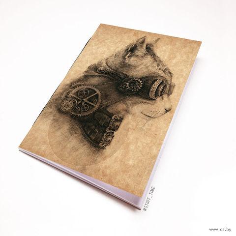 """Блокнот крафт """"Стимпанк кот"""" (А7; арт. 754) — фото, картинка"""
