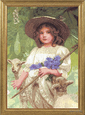 "Вышивка крестом ""Пастушка"" (255x370 мм) — фото, картинка"