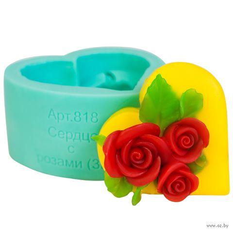 """Форма для изготовления мыла """"Сердце с розами"""" — фото, картинка"""