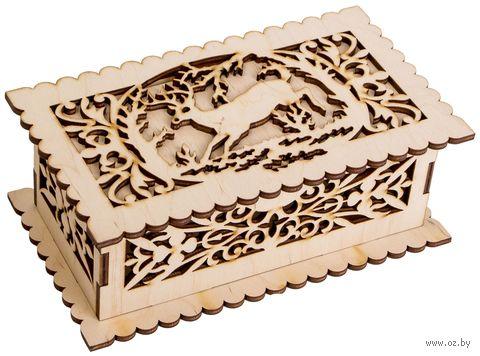 """Заготовка деревянная """"Шкатулка прямоугольная. Олень"""" (180х105х70 мм) — фото, картинка"""