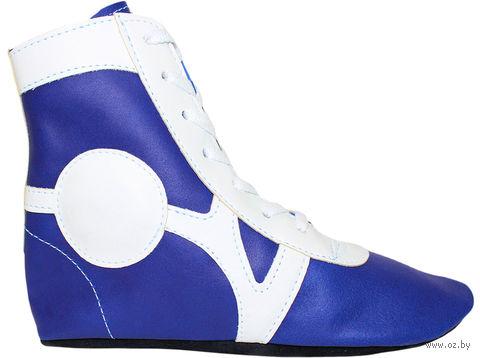 Обувь для самбо SM-0102 (р. 34; кожа; синяя) — фото, картинка