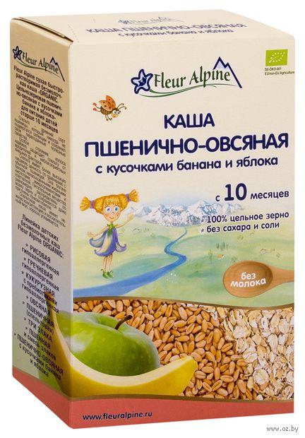 """Детская каша Fleur Alpine Organic """"Пшенично-овсяная с кусочками банана и яблока"""" (175 г) — фото, картинка"""