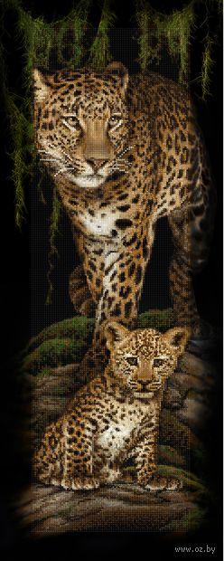 """Алмазная вышивка-мозаика """"Леопардовое семейство"""" (900х350 мм) — фото, картинка"""