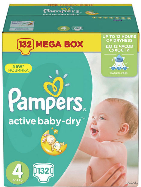 "Подгузники ""Pampers Active Baby-Dry Maxi"" (8-14 кг, 132 шт)"