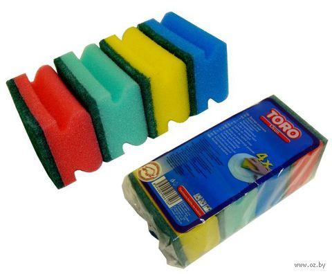 Набор губок для мытья посуды поролоновых (4 шт, 9x6 см)