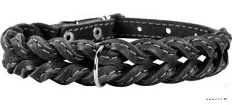 Ошейник из натуральной кожи (29-35 см; черный) — фото, картинка