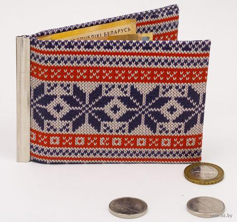 "Зажим для денег с монетницей ""Зимний узор"" — фото, картинка"