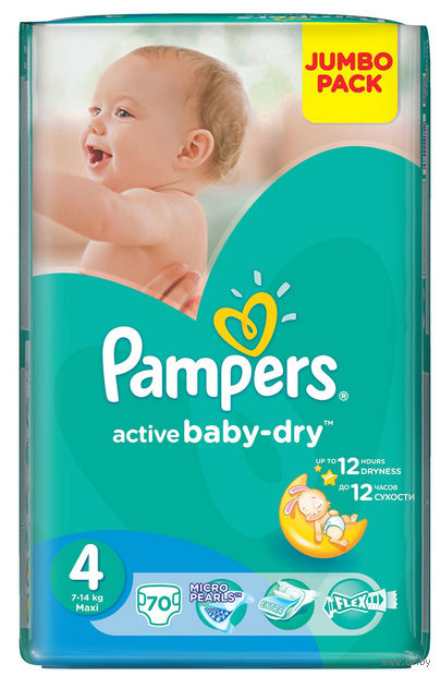 "Подгузники ""Pampers Active Baby-Dry Maxi"" (8-14 кг, 70 шт; арт. 0001010635)"