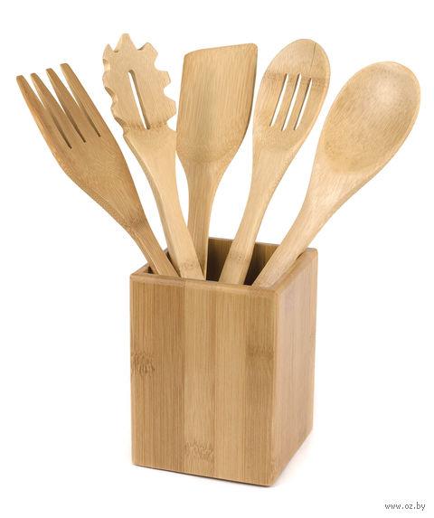 Набор кухонных принадлежностей бамбуковых в подставке (5 предметов, 30*6 см, арт. BB101147)