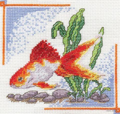 """Вышивка крестом """"Золотая рыбка"""" (140x140 мм) — фото, картинка"""