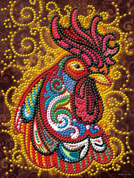 """Алмазная вышивка-мозаика """"Огненный петух"""" (150х200 мм) — фото, картинка"""