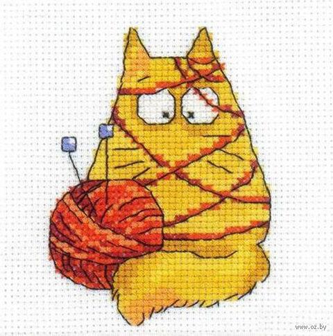 """Вышивка крестом """"Желтый кот с клубком"""""""