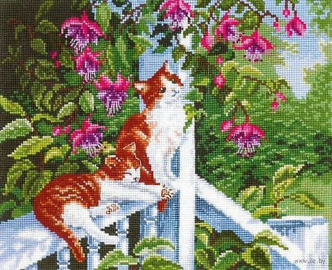 "Вышивка крестом ""Цветущие фуксии"" (270x220 мм) — фото, картинка"