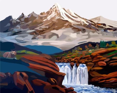 "Картина по номерам ""Водопад в горах"" (400x500 мм) — фото, картинка"