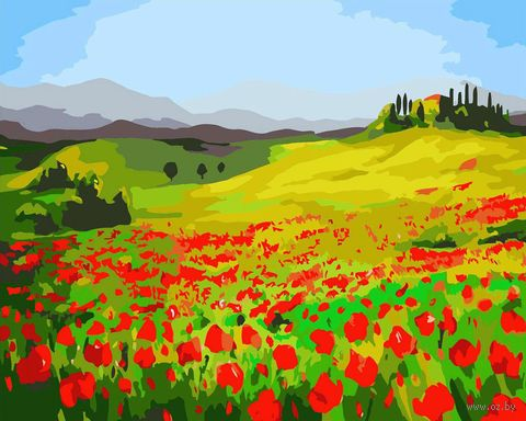 "Картина по номерам ""Маковое поле"" (400х500 мм) — фото, картинка"