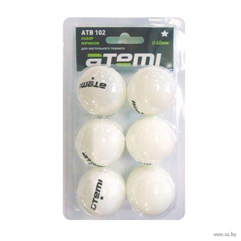Мячи для настольного тенниса Atemi (6 шт.; 1 звезда; белые) — фото, картинка