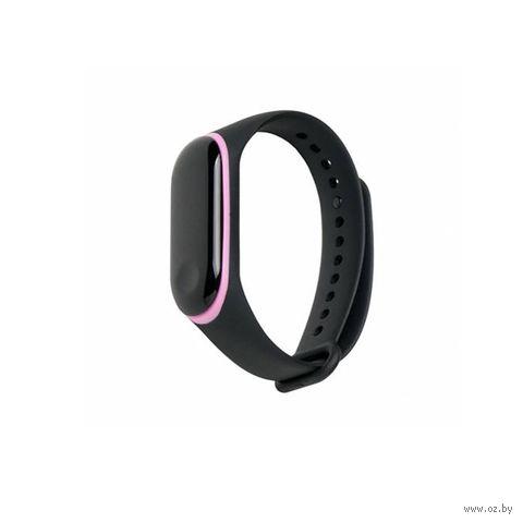 Ремешок для Xiaomi Mi Band 3 и Mi Band 4 (черный с розовым) — фото, картинка