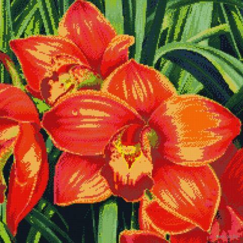 """Алмазная вышивка-мозаика """"Красные орхидеи"""" (510х510 мм) — фото, картинка"""