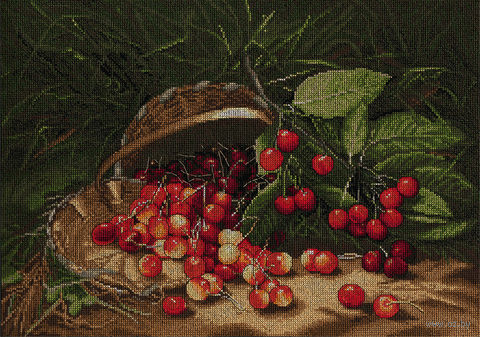 "Вышивка крестом ""Сладкая вишня"" (400x290 мм) — фото, картинка"