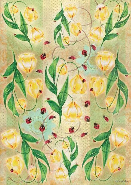 "Бумага для декупажа рисовая ""Цветы в лесу"" (290х210 мм)"