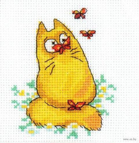 "Вышивка крестом ""Желтый кот с бабочками"""