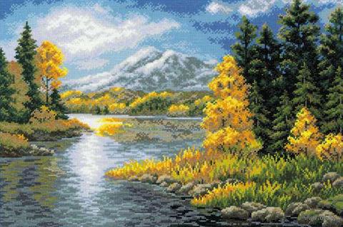 """Вышивка крестом """"Озеро в горах"""""""