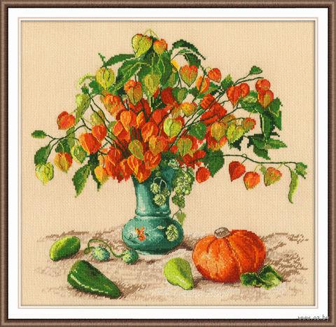 "Вышивка крестом ""Осенние фонарики"" (280х290 мм) — фото, картинка"