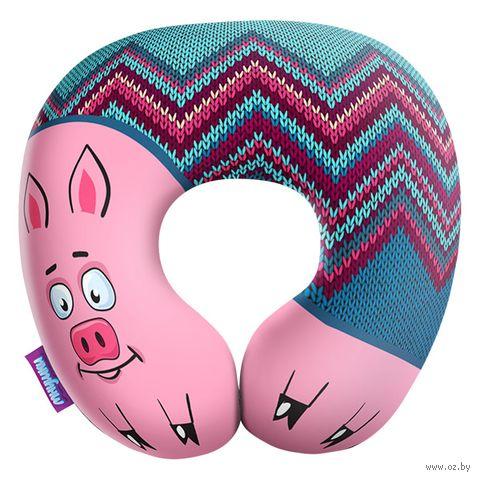 """Подушка под шею """"Подложи свинью"""" (34х34 см; синяя) — фото, картинка"""