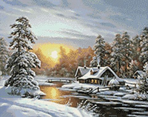 "Алмазная вышивка-мозаика ""Морозное утро"" (380х480 мм) — фото, картинка"