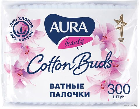 "Ватные палочки ""Aura"" (пакет; 300 шт.) — фото, картинка"