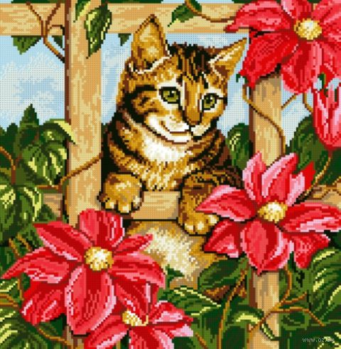 """Алмазная вышивка-мозаика """"Котенок в цветах"""" (420х410 мм) — фото, картинка"""