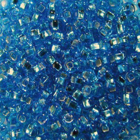 Бисер прозрачный с серебристым центром №67030 (бирюзовый; 10/0)