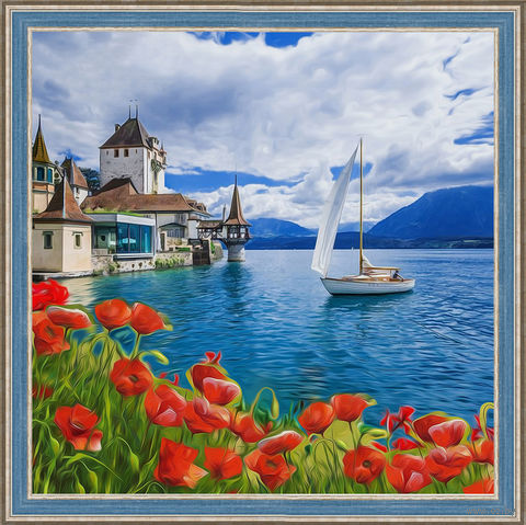 "Алмазная вышивка-мозаика ""Цветущая бухта"" (400х400 мм) — фото, картинка"