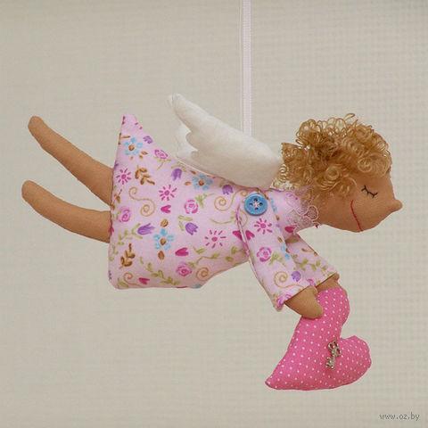 """Кукла ручной работы """"Ангел"""" (розовый в розовый цветочек)"""
