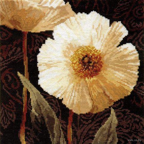 """Вышивка крестом """"Белые цветы. Открытый свету"""" (250х250 мм) — фото, картинка"""