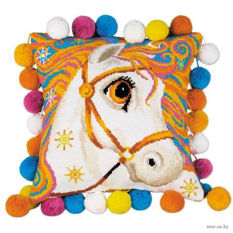 """Вышивка крестом """"Подушка. Златогривая лошадка"""" (300х300 мм) — фото, картинка"""