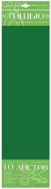 Бумага тишью цветная (10 листов; зеленая) — фото, картинка