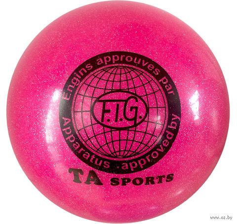 Мяч для художественной гимнастики RGB-102 (15 см; розовый с блёстками) — фото, картинка