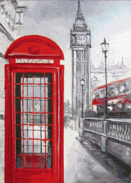 """Алмазная вышивка-мозаика """"Лондонская телефонная будка"""" (500х360 мм) — фото, картинка"""