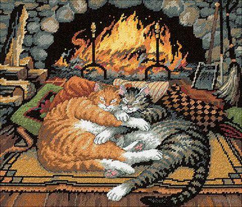 "Вышивка нитью ""Кошки у камина"" (арт. DMS-72-120007)"