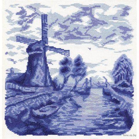 """Вышивка крестом """"Мельница и мост"""""""