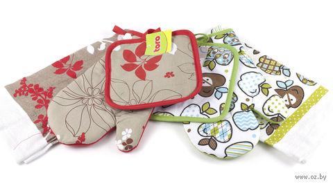 Набор кухонный матерчатый, 3 предмета: салфетка (64x39 см), рукавица (26x17 см), прихват (17x17 см)