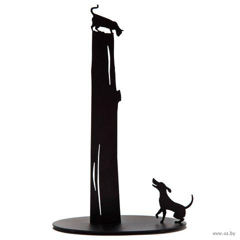 """Подставка для бумажных полотенец """"Dog vs. Cat"""" (черный)"""