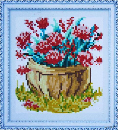 "Алмазная вышивка-мозаика ""Корзина цветов"" (150х170 мм; арт. 7714757) — фото, картинка"